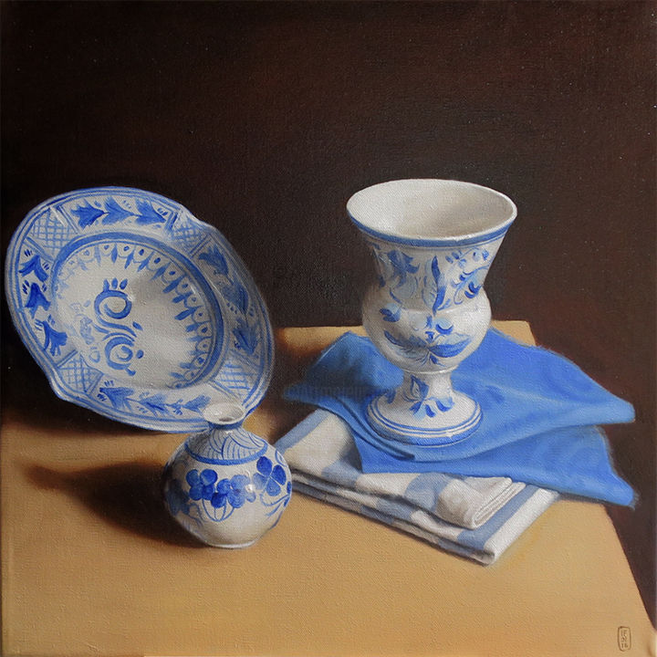 Nature morte bleue - Painting,  40x40 cm ©2016 by isabelle Frances -                                            Canvas, Still life, Still Life, composition bleue