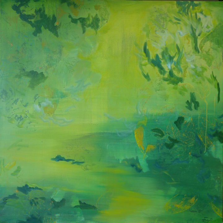 2014-5 - Painting,  31.5x31.5 in, ©2014 by Isabelle FRIGIERE -