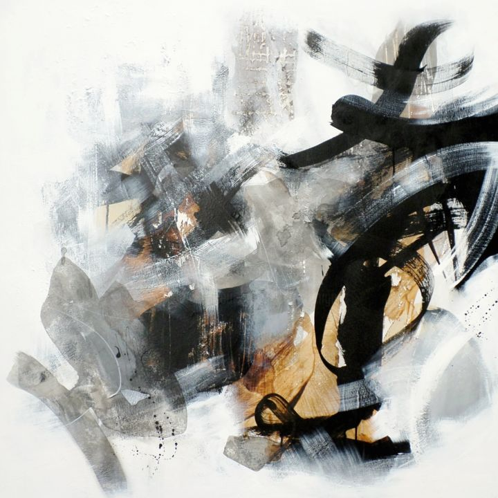 Nothing without wind and rain (1) - Peinture,  39,4x39,4x1,6 in, ©2017 par Isabelle Mignot -                                                                                                                                                                                                                                                                                                                                                              Abstract, abstract-570, Art abstrait, abstrait, expressionisme, noir, blanc