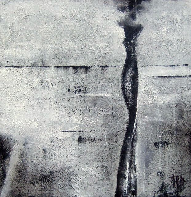 Ecoute le silence - Peinture,  11,8x11,8 in, ©2009 par Isabelle Mignot -                                                                                                                          Abstract, abstract-570