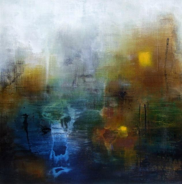 Carré d'ailleurs 2 - Peinture,  31,5x31,5 in, ©2010 par Isabelle Mignot -                                                                                                                          Abstract, abstract-570