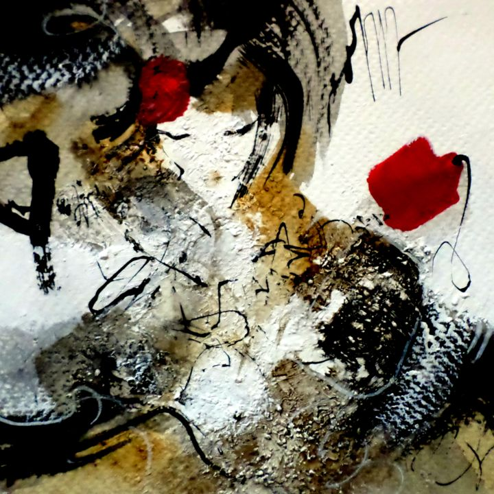 Rêver encore (35) - Peinture,  5,1x5,1 in, ©2015 par Isabelle Mignot -                                                                                                                                                                          Abstract, abstract-570, Art abstrait