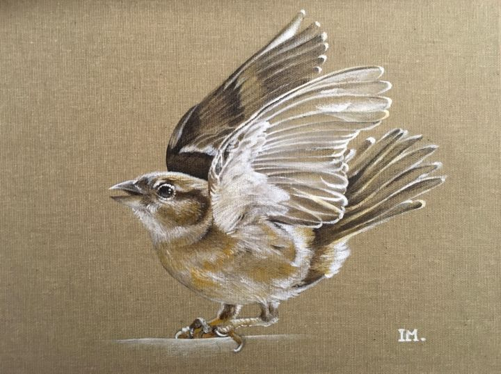 Série oiseaux n°17 - Painting,  30x24 cm ©2018 by Isabelle Molinard -                                                            Figurative Art, Canvas, Animals, sparrow bird moineau oiseau