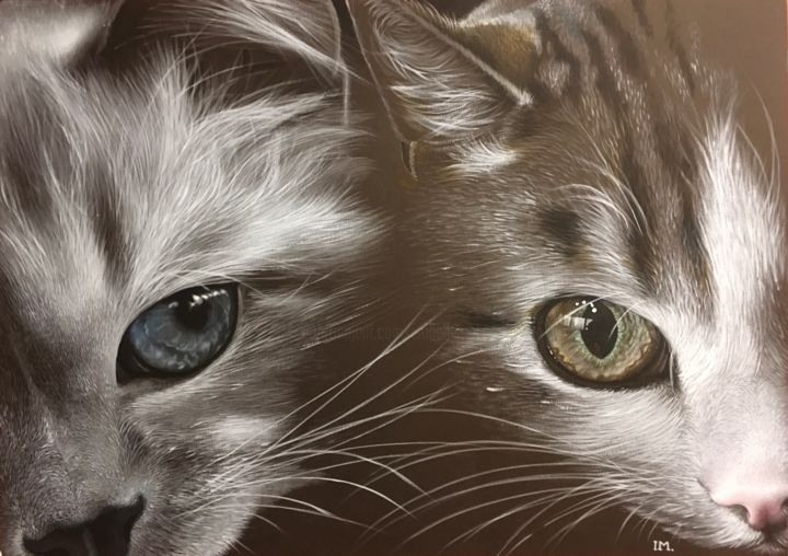 Double cats 2 - Painting,  70x50 cm ©2019 by Isabelle Molinard -                                                            Figurative Art, Canvas, Animals, cats head eyes very closed