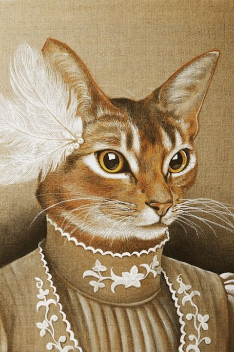 Edwige - Painting,  50x40 cm ©2014 by Isabelle Molinard -                                                            Realism, Canvas, Animals, Chatte, habit brodé, plumes blanches