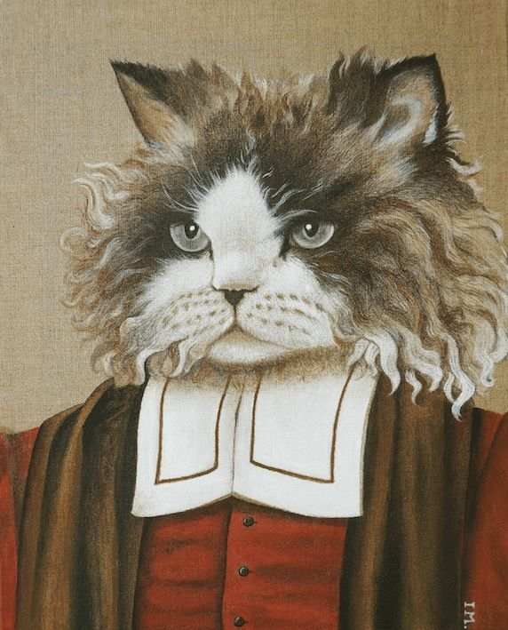 Balthazar - Painting,  50x40 cm ©2014 by Isabelle Molinard -                                                            Figurative Art, Canvas, Animals, Chat, Selkirk rex, costume rouge