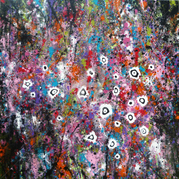 Biophly 7 - Painting,  100x100x2 cm ©2014 by Isabelle Pelletane -                                                                                                                                    Abstract Art, Abstract Expressionism, Contemporary painting, Pop Art, Canvas, Abstract Art, Botanic, Flower, Garden, noir, black, jardin, pop, fleurs, flowers, nature, abstrait, abstract