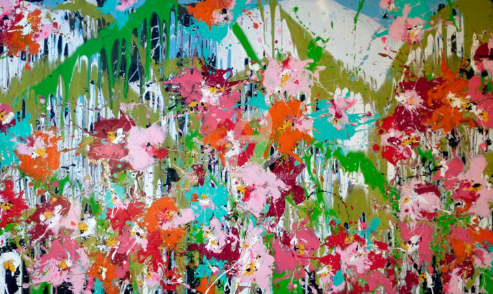 Flowersun - Painting,  97x160x2 cm ©2015 by Isabelle Pelletane -                                                                                                                                Abstract Art, Abstract Expressionism, Modernism, Contemporary painting, Tree, Abstract Art, Botanic, Flower, Garden, abstract, abstrait, colorful, tropical, flowers, floral, fleurs, nature, vegetal
