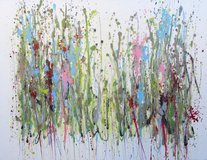 Tender Land 2 - Painting,  89x116x2 cm ©2016 by Isabelle Pelletane -                                                                                                                                Abstract Art, Abstract Expressionism, Minimalism, Contemporary painting, Abstract Art, Botanic, Flower, Garden, Nature, abstrait, abstract, jardin, garden, Pelletane, automne