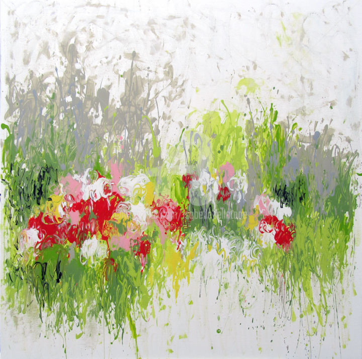 Fresh Grass - Painting,  100x100x2 cm ©2017 by Isabelle Pelletane -                                                                                                                                                Abstract Art, Abstract Expressionism, Minimalism, Contemporary painting, Canvas, Abstract Art, Botanic, Flower, Garden, Nature, abstrait, jardin, Pelletane, abstract, garden, nature