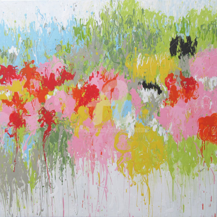 Waiting Spring - Painting,  100x100x2 cm ©2017 by Isabelle Pelletane -                                                                                                                                    Abstract Art, Abstract Expressionism, Contemporary painting, Canvas, Abstract Art, Flower, Graffiti, Garden, Nature, abstract, abstrait, jardin, garden, Pelletane, nature