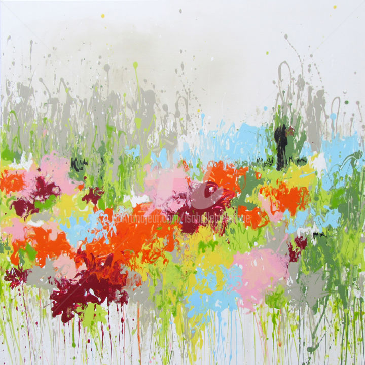 Waiting Spring 2 - Painting,  100x100x2 cm ©2017 by Isabelle Pelletane -                                                                                                                                                Abstract Art, Abstract Expressionism, Contemporary painting, Canvas, Abstract Art, Botanic, Colors, Flower, Garden, Nature, abstrait, abstract, nature, Pelletane, Jardin, garden