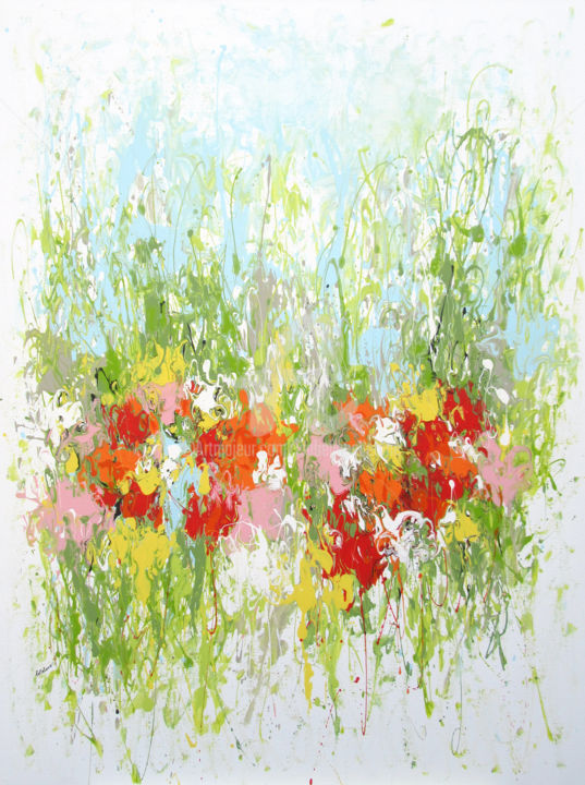 Fresh Garden - Painting,  130x97x2 cm ©2017 by Isabelle Pelletane -                                                                                                                                    Abstract Art, Abstract Expressionism, Contemporary painting, Canvas, Abstract Art, Botanic, Flower, Garden, Nature, abstrait, jardin, abstract, garden, nature, Pelletane