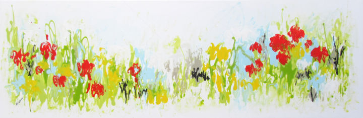 Summer Garden - Painting,  40x120x4 cm ©2017 by Isabelle Pelletane -                                                                                                                                    Abstract Art, Abstract Expressionism, Minimalism, Contemporary painting, Canvas, Abstract Art, Flower, Garden, Nature, abstrait, abstract, Pelletane, jardin, garden, nature, blanc, white