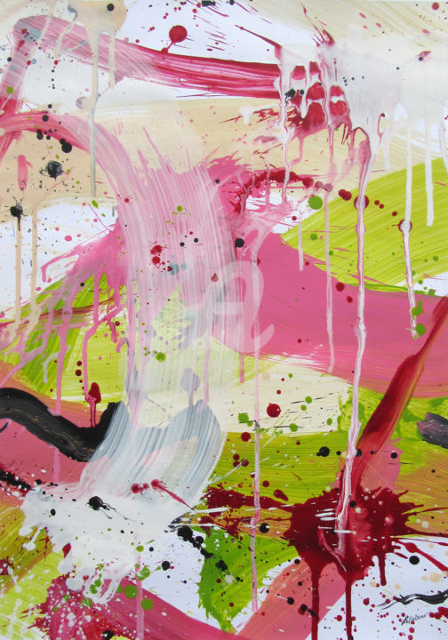 Lovely Land #1 - Painting,  27.6x19.7 in, ©2019 by Isabelle Pelletane -                                                                                                                                                                                                                                                                                                                                                                                                                                                                                                                                                                                                                                                                                                                                                                                                                                                                                                              Abstract, abstract-570, Abstract Art, Colors, Light, Nature, Spirituality, vert, rose, Pelletane, abstrait, green, pink, abstract, nature, buy online, interior design, paper, papier