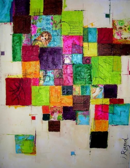 Bohème - Painting,  92x73 cm ©2008 by Isabelle Rizoud -                            Abstract Art, formes couleurs collages