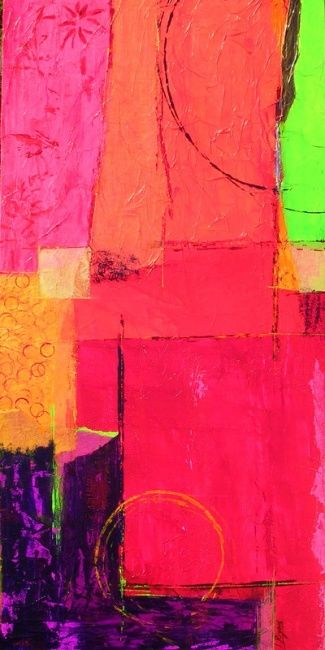 Colors - Painting,  90x50 cm ©2007 by Isabelle Rizoud -                            Abstract Art, couleurs collages