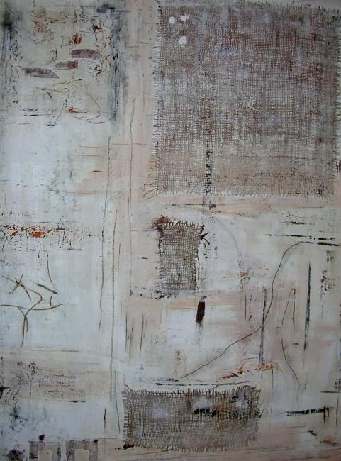 Nature - Painting,  92x73 cm ©2008 by Isabelle Rizoud -                            Abstract Art, naturel douceur collages