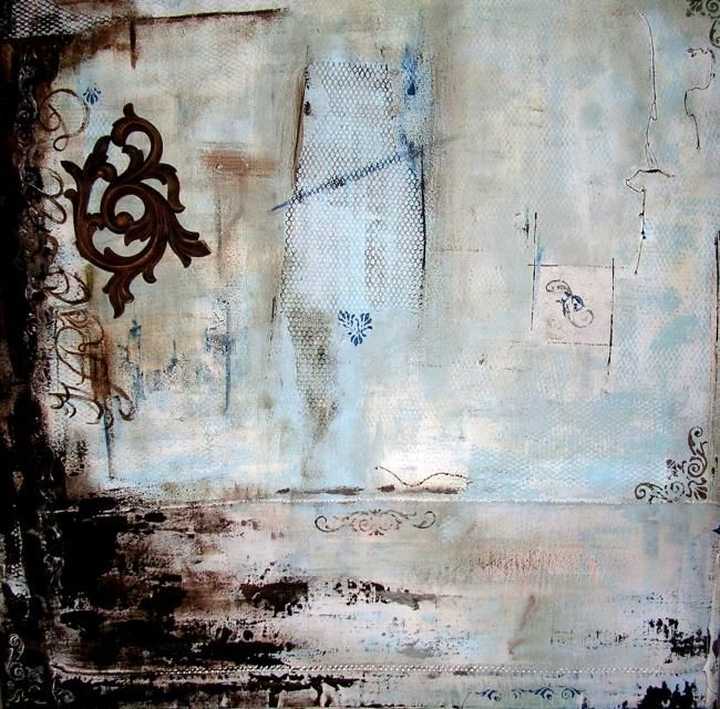Romance - Painting,  80x80 cm ©2008 by Isabelle Rizoud -                            Abstract Art, harmonie collages