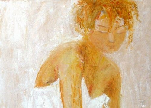 Femme - Painting,  50x35 cm ©2012 by Isabelle Frossard-Corthay -                        Expressionism