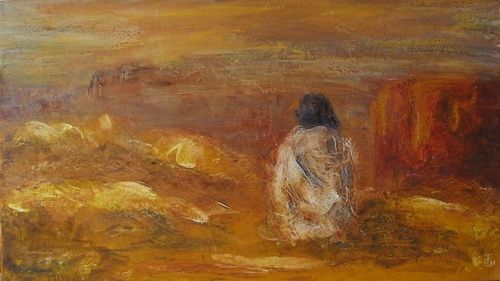 Méditation - Painting,  70x40 cm ©2012 by Isabelle Frossard-Corthay -                        Expressionism