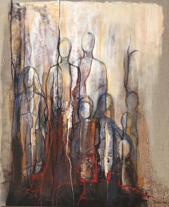 Famille - Painting,  25.6x21.3 in, ©2020 by Isabelle Husson -