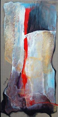 A travers les voiles - Painting,  31.5x15.8 in, ©2007 by Isabelle Husson -