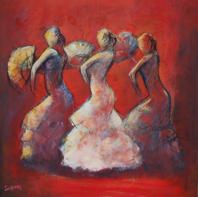 danseuses - Painting,  39.4x39.4 in, ©2009 by Isabelle Husson -