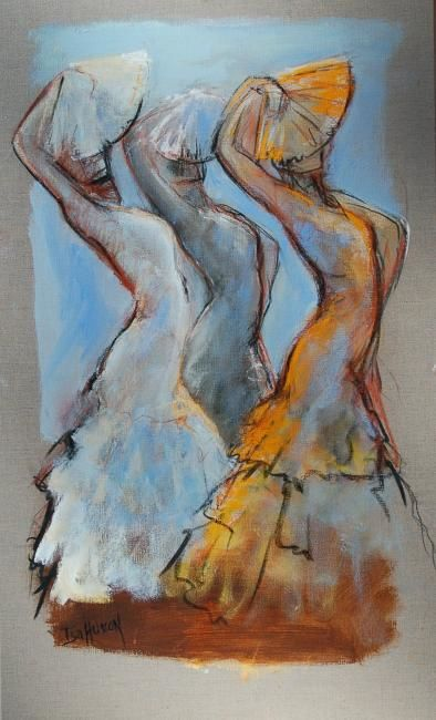 3 éventails - Painting,  39.4x23.6 in, ©2009 by Isabelle Husson -