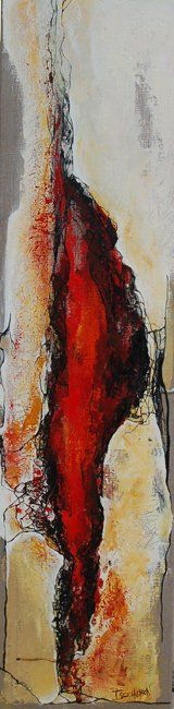 Instinct - Painting,  47.2x11.8 in, ©2009 by Isabelle Husson -
