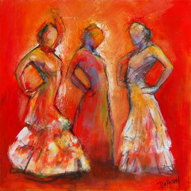 trio 2 - Painting,  40x40 cm ©2009 by Isabelle Husson -
