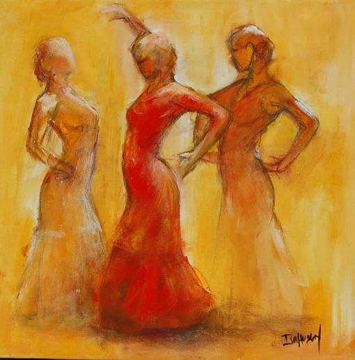 trio 4 - Painting,  40x40 cm ©2009 by Isabelle Husson -