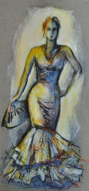 determination - Painting,  31.5x15.8 in, ©2010 by Isabelle Husson -