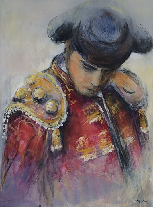 image.jpg - Painting,  15.8x11.8 in, ©2015 by Isabelle Husson -                                                                                                                                                      portrait, torero, corrida