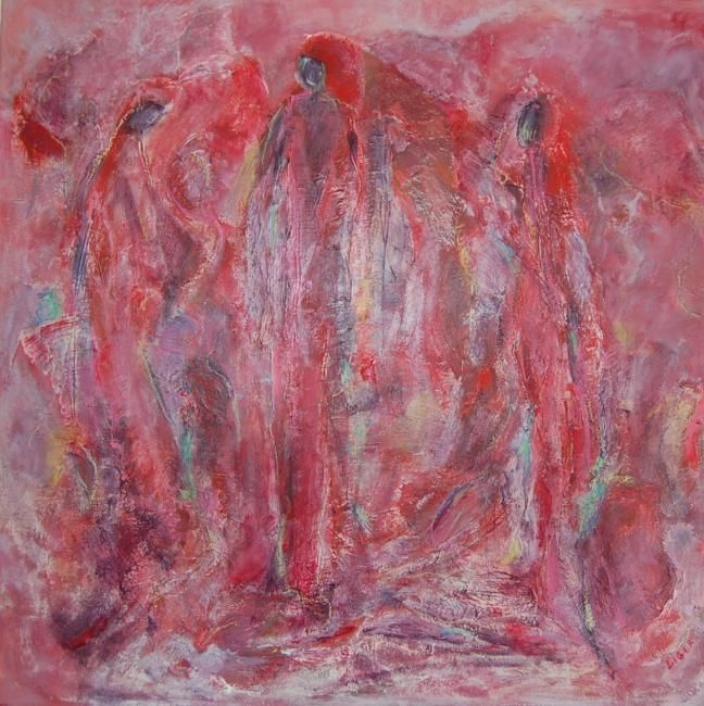 Femmes berbères - Painting,  100x100 cm ©2006 by Isabelle Liger -