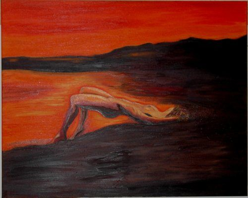 MULHER NA PRAIA - Painting,  100x80 cm ©2007 by Isabel Carvalho -