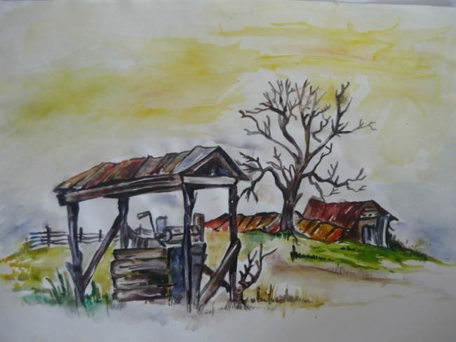 """Drawing titled """"Landscape in the sun"""" by Iscariotteh, Original Art,"""