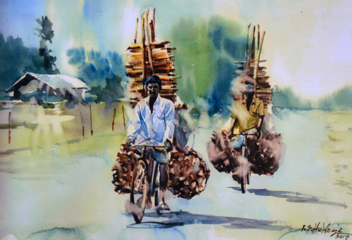 """Painting titled """"The Lumber Mill"""" by Ishan Senaka Hewage, Original Art, Acrylic Mounted on Stretcher frame"""
