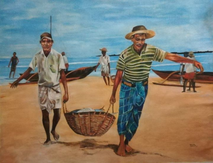 """Painting titled """"Catch of the Day"""" by Ishan Senaka Hewage, Original Art, Acrylic Mounted on Stretcher frame"""