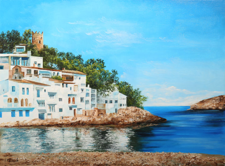 Spain, Costa Brava - Painting,  24x32x2 in ©2019 by Isidor Kaisidi -                                                                    Impressionism, Cities, Cityscape, Beach, Spain, Costa Brava, Room Decor, Colorful Painting, Gift, Oil painting, Oil on canvas, Impressionism, Modern style, Seascape