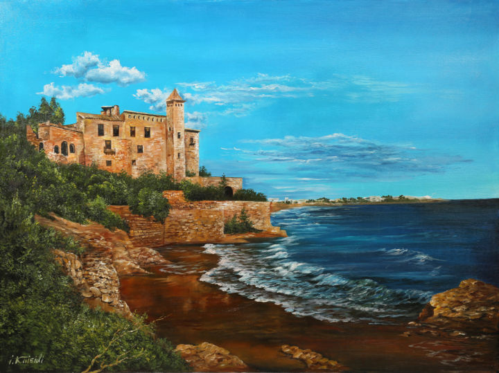 Original oil painting on canvas, Castle Spain - © 2019 painting, oil paints, sea, Costa Dorada, spain, castle Online Artworks