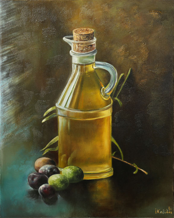 Original oil painting on canvas, Olive oil - © 2019 Olive oil, Kitchen decor, Still life, Olives, Classic style, Olive color Online Artworks