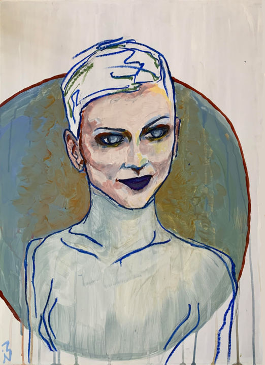 """Painting titled """"Lady Skynet"""" by Isidora Axis, Original Art, Acrylic"""
