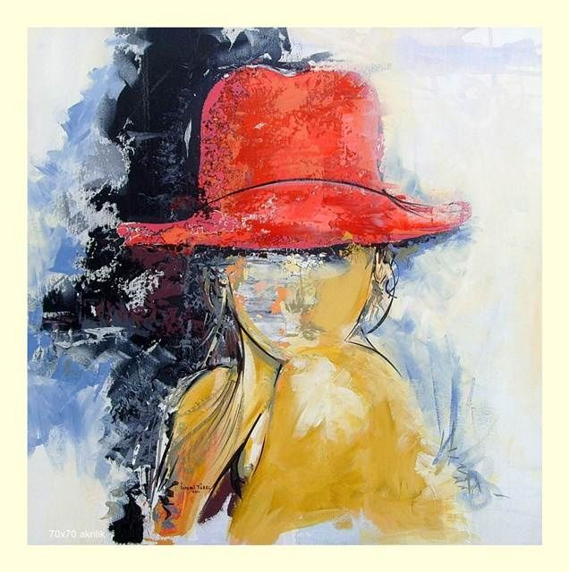 Kirmizi Sapkali Kiz Girl With A Red Hat Painting By Ismail Turel