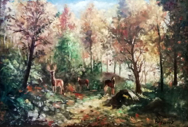 """Painting titled """"Autumn in the forest"""" by Istvan Mogyoro, Original Art, Oil"""