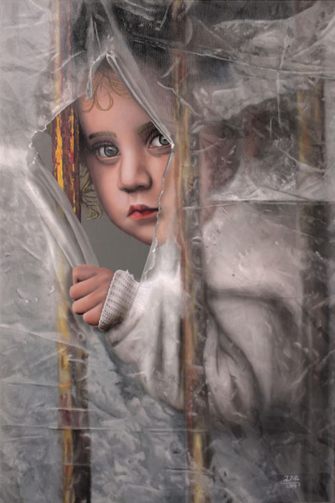 Behind friendy lines - Painting,  35.4x23.6x0.8 in, ©2019 by Ivan Pili -                                                                                                                                                                                                                                                                                                                                                                                                                                                                                                                                                                                                                                                                                                                                                                                                                      Figurative, figurative-594, Love / Romance, Children, Colors, Fairytales, People, child, childhood, love, hyperrealism, hyper-realism, oil on canvas, oil paint, beautiful, hyper-realistic, hyperrealistic