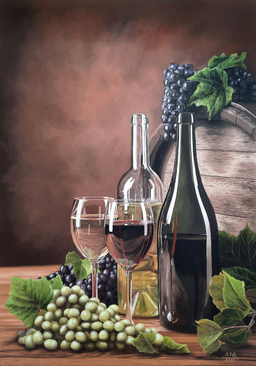 """Painting titled """"White wine or red w…"""" by Ivan Pili, Original Art, Oil"""