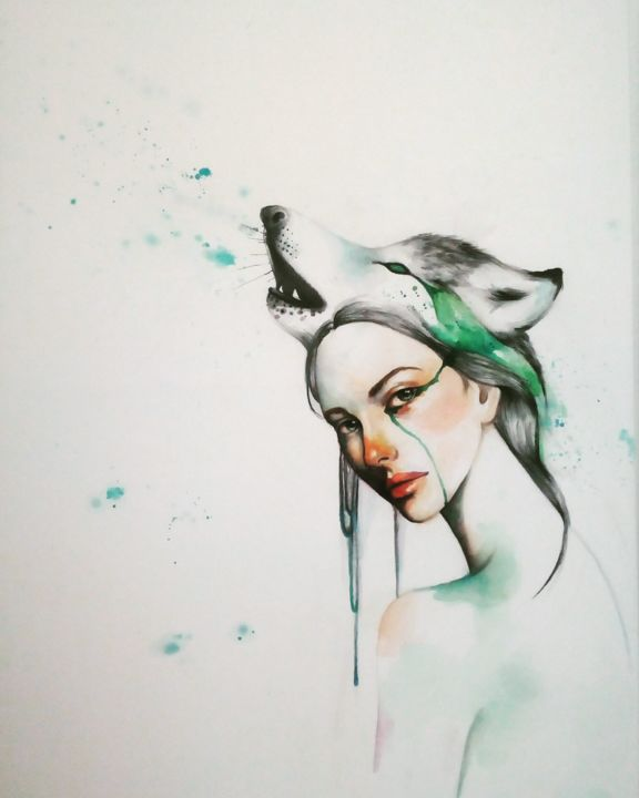 """Painting titled """"L'illusione dell'an…"""" by Ivana Giacalone, Original Art, Watercolor Mounted on Wood Panel"""