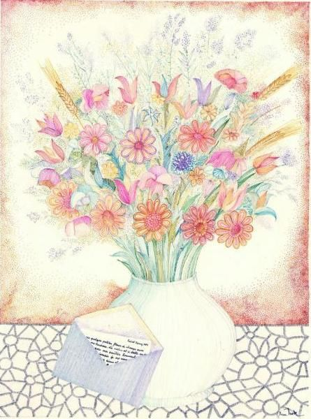 43_P5.jpg - Drawing, ©2011 by Ivan Hor -                                                              bunch of flowers