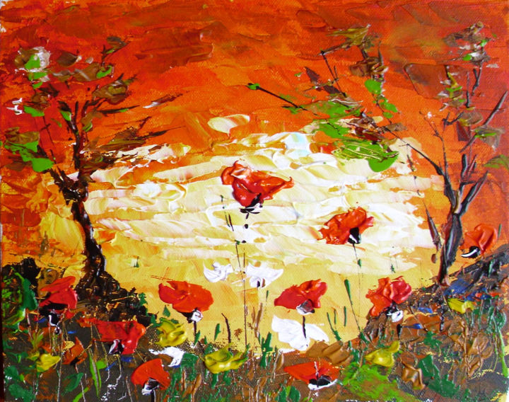 """Painting titled """"poppies"""" by Ivo, Original Art, Oil"""